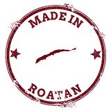 Roatan seal. Vintage island map sticker. Grunge rubber stamp with Made in text and map outline, vector illustration Stock Image