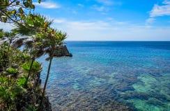 Roataneiland Honduras Landschap, zeegezicht van een tropisch blauw turkoois duidelijk oceaanwater, ertsader Blauwe hemel op de ac Royalty-vrije Stock Foto