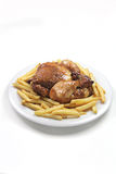 Roated chicken wiht fries Royalty Free Stock Photos