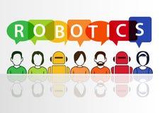 Robótica e conceito dos robôs com texto no fundo branco Fotos de Stock Royalty Free