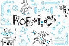 Robótica para crianças Bandeira ou cartão Robôs e detalhes para a construção Ilustração do vetor ilustração stock