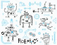 Robótica para crianças Jogo de elementos do projeto Robôs e detalhes para a construção Ilustração do vetor ilustração royalty free