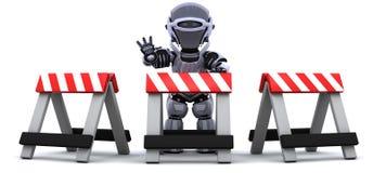 Robô atrás de uma barreira ilustração do vetor
