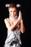 Robô Charming da senhora com injetor Imagem de Stock Royalty Free