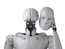 Robô com cérebro do ai ilustração stock