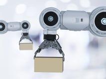 Robô com caixa de cartão imagens de stock