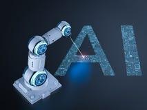 Robô com inteligência artificial foto de stock