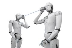 Robô com lata de lata ilustração stock