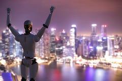 Robô com mãos acima imagem de stock
