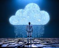 Robô com nuvem do circuito ilustração do vetor