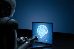 Robô com o cérebro do ai no caderno imagens de stock