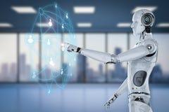 Robô com rede social Imagem de Stock Royalty Free