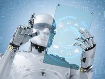 Robô com tabuleta de vidro ilustração stock