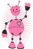 Robô cor-de-rosa da menina com grunge Imagens de Stock Royalty Free