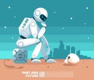 Robô da inteligência artificial do AI que olha um crânio humano e que pensa algumas coisas no fundo de um mundo cargo-apocalíptic ilustração do vetor