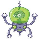Robô de BrainBot com cérebro Foto de Stock Royalty Free