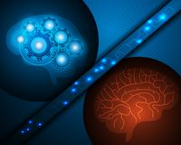Robô do AI e cérebro humano sobre o fundo azul com onlin da rede ilustração royalty free
