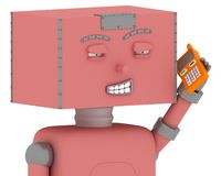 Robô do brinquedo com telefone móvel ilustração stock
