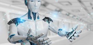 Robô do homem branco usando a rendição da conexão de rede digital 3D ilustração do vetor