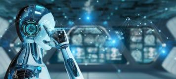 Robô do homem branco usando a rendição da conexão de rede digital 3D ilustração stock
