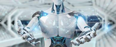 Robô do homem branco usando a rendição da conexão de rede digital 3D ilustração royalty free