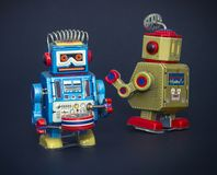 robô dois pequeno no preto Fotos de Stock Royalty Free