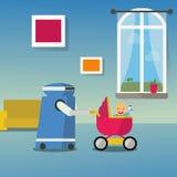 Robô doméstico com bebê feliz em um carrinho de criança do pram ilustração do vetor