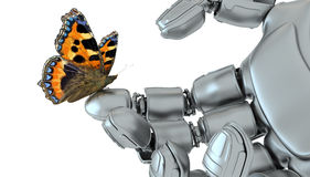 Robô e borboleta Fotos de Stock