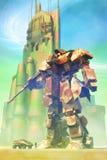 Robô e cidade gigantes ilustração do vetor