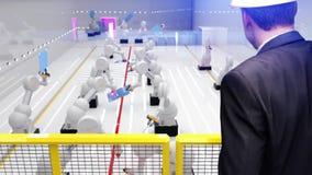 Robô esperto da indústria da automatização na ação que solda os painéis solares