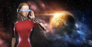 Robô fêmea em vidros da realidade virtual sobre o espaço Imagem de Stock