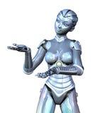Robô fêmea que apresenta seu produto Fotografia de Stock
