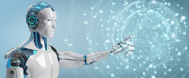 Robô masculino branco usando a rendição digital da relação 3D da tela ilustração royalty free