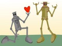 Robô masculino que dá seu coração ao robô fêmea Foto de Stock Royalty Free