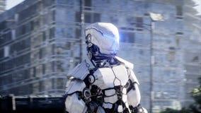 Robô militar na cidade destruída Conceito futuro do apocalipse Animação 4K realística ilustração royalty free