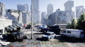 Robô militar na cidade destruída Conceito futuro do apocalipse Animação 4K realística ilustração do vetor