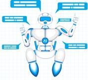 Robô moderno isolado no fundo azul Foto de Stock Royalty Free