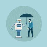 Robô moderno que guarda o guarda-chuva sobre a tecnologia futurista do mecanismo da inteligência artificial da proteção do homem  ilustração royalty free