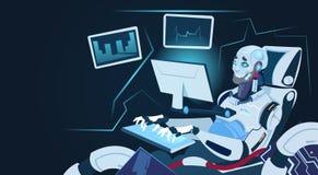 Robô moderno que trabalha na tecnologia futurista do mecanismo da inteligência artificial do computador ilustração royalty free