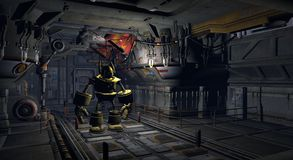 Robô na fábrica ilustração do vetor