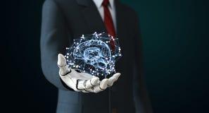 Robô na inteligência artificial do holdng do terno ilustração stock
