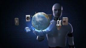Robô, palma aberta do cyborg, móbil de conexão de uma comunicação global da rede da terra, carro, economia de energia, arruela, r
