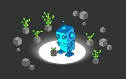 Robô para descobrir a planta nova entre o projeto digital da ilustração da árvore e da rocha ilustração do vetor