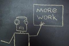 Robô pintado com uma inscrição no giz em um quadro-negro ilustração royalty free