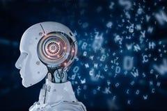 Robô que aprende ou aprendizagem de máquina ilustração do vetor