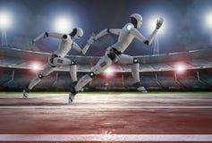 Robô que corre na pista de corridas Foto de Stock