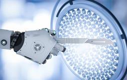 Robô que guarda o escalpelo Fotografia de Stock
