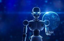 Robô que guarda a terra do planeta na exposição virtual ilustração stock
