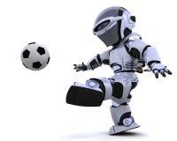 Robô que joga o futebol Fotografia de Stock