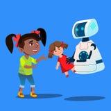 Robô que oferece um vetor enchido de Toy To Little Cute Girl Ilustração isolada ilustração do vetor